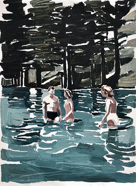 Mountains, Pines, Swimmers