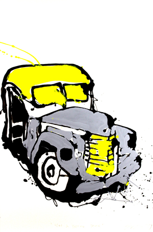 Grey and yellow truck